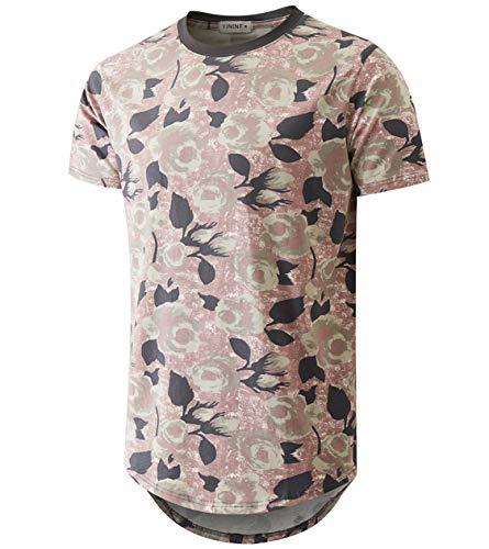 - YININF Mens Hipster Hip-Hop Premiun Tees - Stylish Fashion Print T-Shirts Pink
