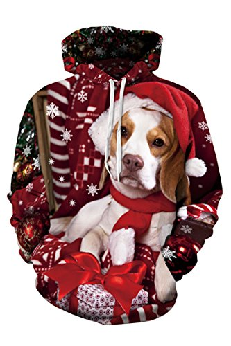 (Cutiefox Womens Fashion Ugly Christmas Dog Pullover Hoodie Sweatshirt XL)