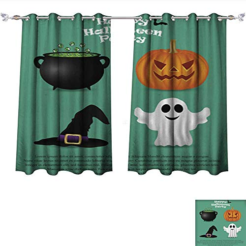 DragonBui Thermal Insulating Blackout Curtain Set for Halloween Party Pumpkin Witch hat Pocket Insulated Tie Up Curtains W120 x -