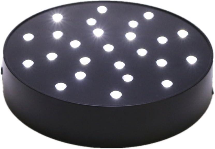 ARDUX Luz base de jarrón de 15,24 cm, forma redonda, 25 ledes, carga USB o funciona con pilas para decoración de jarrón de mesa o fiesta (redondo de 6 pulgadas – B)