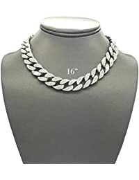 Mens Iced Out Hip Hop Silver Tone CZ Miami Cuban Link Chain Choker Necklace
