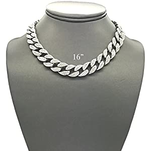 Shiny Jewelers USA Mens Iced Out Hip Hop Silver Tone CZ Miami Cuban Link Chain Choker Necklace