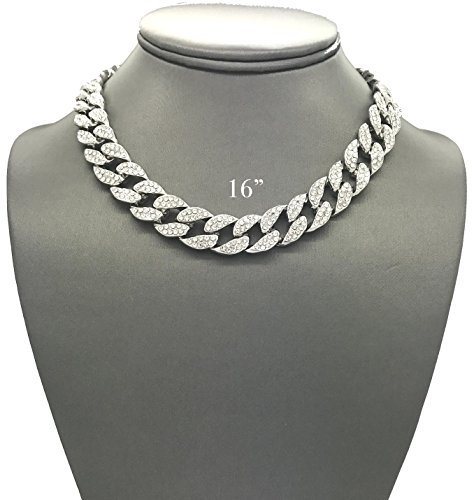 Pyramid Jewelers Mens Iced Out Hip Hop Silver tone CZ Miami Cuban Link Chain Choker Necklace (Iced Silver Metal)