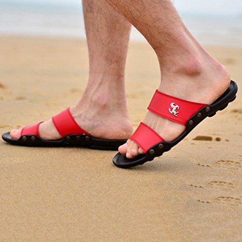 Cuero Envío Hombres PU Rojo Slip Plataforma Verano Zapatos Sandalias Zapatillas Drop Playa on de de qqa7wrz
