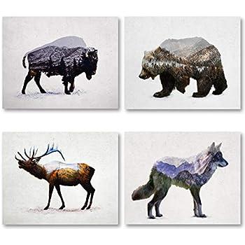 Gango Home Decor Rustic Elk, Bison, Wolf and Bear Landscape Set; Cabin Lodge Decor; Four 10x8in Unframed Poster Print