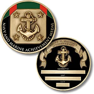 Navy and Marine Achievement Medal Coin - Engravable Challenge Coin