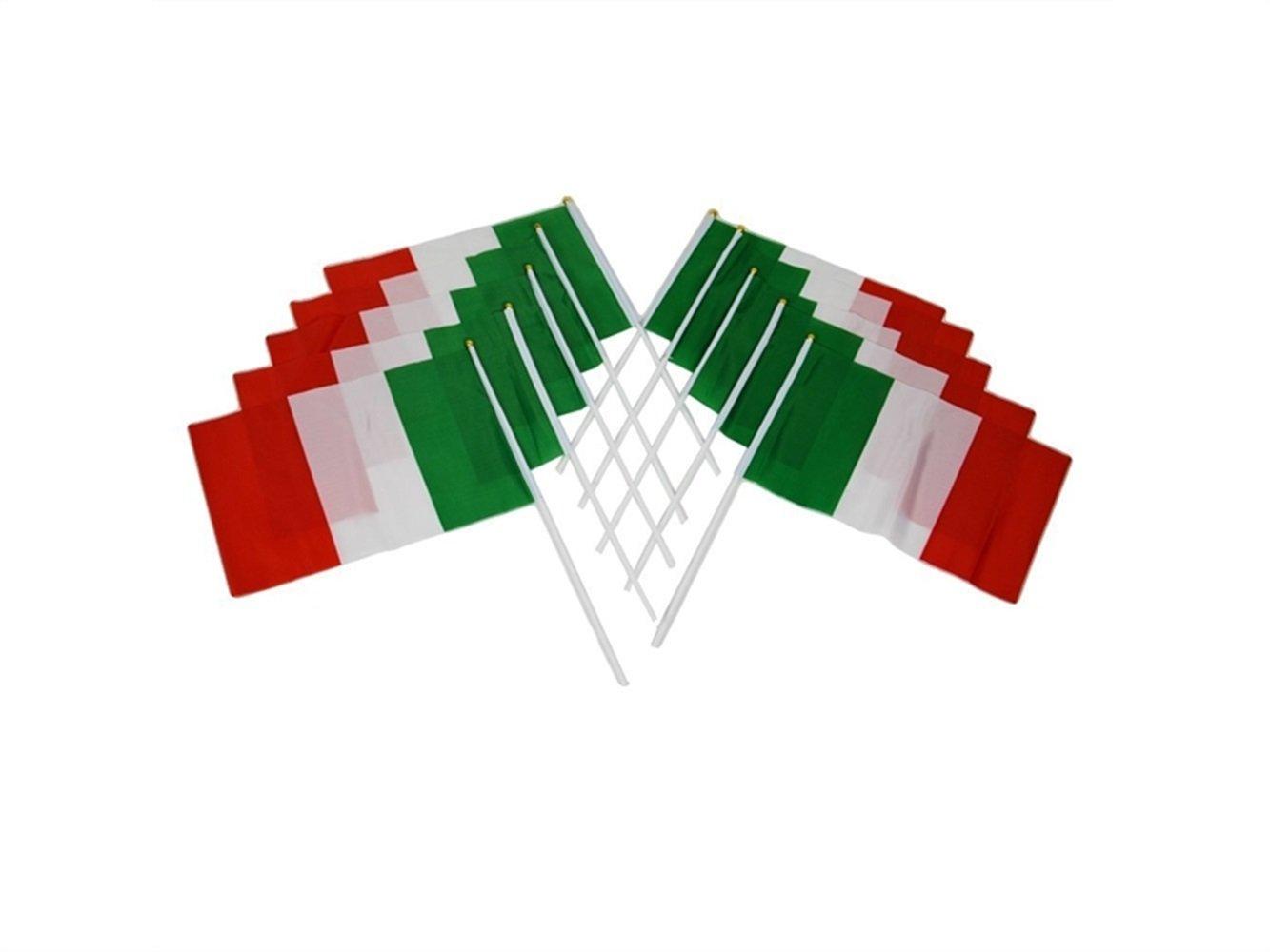 SDCXV Mano agitando Banderas de Italia Banderas de plástico Bandera agitando a Mano Conjunto de Diez Piezas Ejercicio