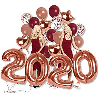 Amazon.com: 2020 Balloons Rose Gold-Large Kit for Happy ...