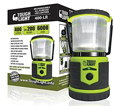 Tough Light LED Rechargeable Lantern - 200 Hours of Light from a Single Charge, Longest Lasting on Amazon! Camping and Emergency Light with Cell Phone Charger - 2 Year Warranty by Tough Light