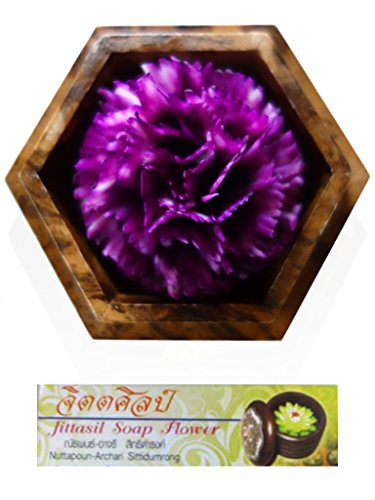 Jittasil Thai Hand-Carved Soap Flower, 4 Inch Scented Soap Carving Gift-Set, Purple Carnation In Decorative Hexagonal Pine Wood Case
