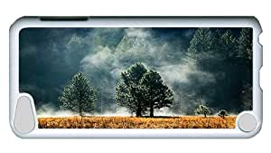 Rugged iPod Touch 5 Case, Foggy Pine Forest Hardshell Case Cover for iPod Touch 5 /iPod 5/ iPod 5th Generation White Plastic Case