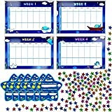 "Potty Training Reward Chart with 4X Waterproof Weekly Charts, 6X Diploma, 600X Colorful Stars. Perfect for Multiple Toddlers' Motivational Toilet Training (Each chart 11"" X 7"")"