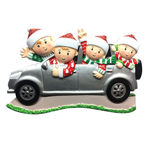 Personalized SUV Family of 4 Christmas Tree Ornament 2019 - Sibling Friend Travel in Car Ugly Sweater Tradition Winter Holiday Vacation Grandkids Gift Year - Free Customization (Four)