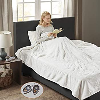 Woolrich Plush to Berber Electric Blanket Throw Ultra Soft Knitted, Super Warm and Snuggly Cozy with Auto Shut Off and Multi Heat Level Setting Controllers, Queen, Ivory