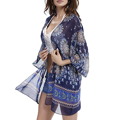 - Women's 3/4 Sleeve Floral Kimono Cardigan, Sheer Loose Shawl Capes, Chiffon Beach Cover-Up, Casual Blouse Tops (J-Navy, XX-Large)