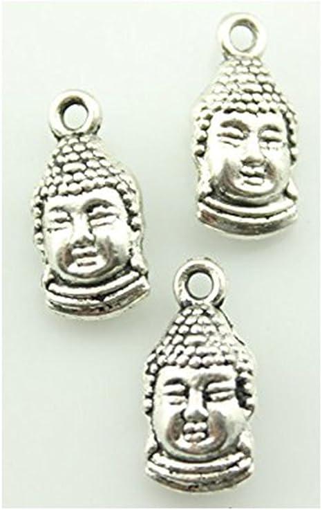 Hermoso tono plata envejecido Collar Colgante budista