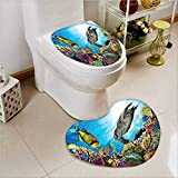 2 Piece Toilet lid Cover mat Set Fishes and Hawksbill Floats Under Water Between Reefs Aquatic Soft Shaggy Non Slip