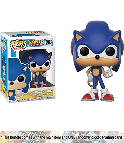 Sonic w/ Ring: Funko POP! Games x Sonic the Hedgehog Vinyl Figure + 1 Video Games Themed Trading Card Bundle [#283] (Pop Super Cat)