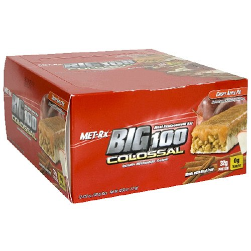 Met-Rx Big 100 Bar Colossal substitut de repas, Croustillant d'Apple Pie, 12 Bars, 3,52 Onces
