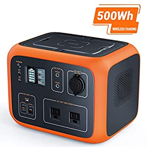TACKLIFE P50 500Wh Portable Power Station Solar Ready Battery Generator with Pure Sine Wave 110V AC Outlets 10W Wireless Charging USB-C PD 45W for Outdoors Camping Power Outage Emergency-90% DoD
