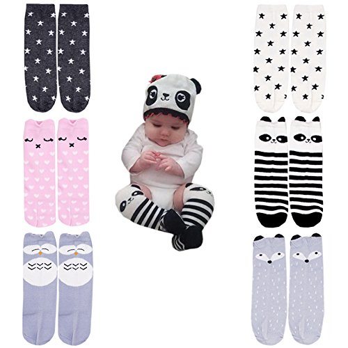 October Elf Unisex Baby Knee High Stockings Tube Socks 6 Pairs (M(1-3 Years), 7) -