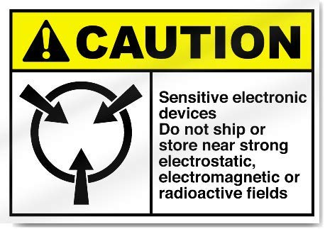 Yilooom Sensitive Electronic Devices Do Not Ship Or Store Near Strong Electrostatic, Electromagnetic Or Radioactive Fields Caution Warning Sticker Sign Vinyl Label Alert Decal Sticker 10 X 14 Inch