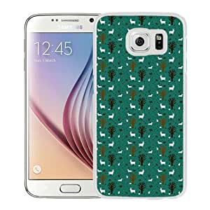 Beautiful Designed Antiskid Cover Case For Samsung Galaxy S6 Phone Case With Forest Trees Deer Pattern_White Phone Case