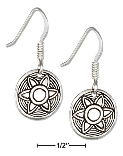(STERLING SILVER DISK WITH STAMPED FLOWER SUN EARRINGS)