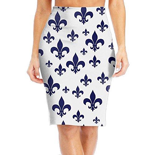 MC WUAHW Fleur De Lis Decent Bodycon Pencil Skirt Work Mini Tight Skirt (Fleur De Lis Skirt)