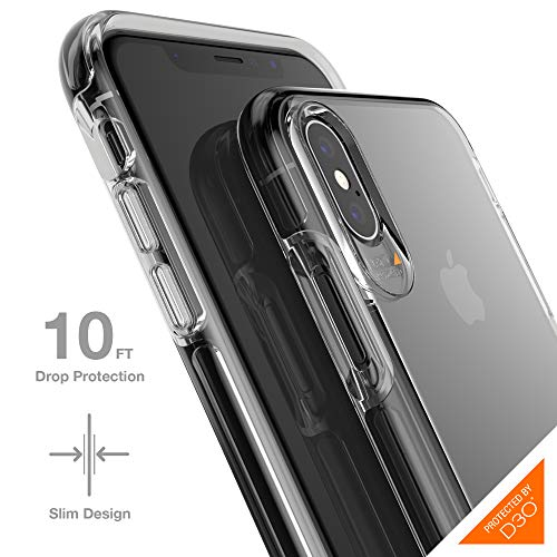 Gear4 Crystal Palace Clear Case with Advanced Impact Protection [ Approved by D3O ], Slim, Tough Design for iPhone X/XS - Clear