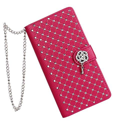 Vandot 2 in1 Accesorios Set funda carcasa de cuero Rhinestone cubierta 1X 3D cristalina clara transparente caja del teléfono para Smartphone Android Sony Xperia Z2 (13,2 cm (5,2 pul) cuero del diamant Chain Rojo