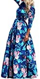 FsJoy Women's Seven Sleeve Floral Casual Long Maxi Dress