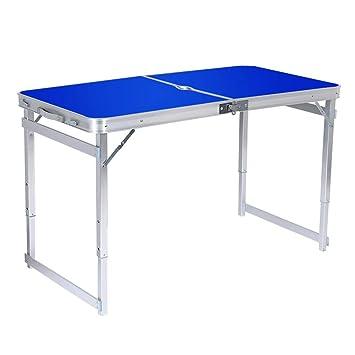 Mesa Plegable Para Acampar Mesa De Aluminio PortáTil Liviana Plegable Y Taburete Con Orificio Para Sombrilla