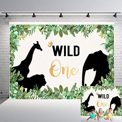 TJ Wild One 1st Birthday Party Backdrop Where The Wild Things are Animals Themed Photography Background Jungle Safari Baby Shower Kids Photo Booth Banner Decorations 7x5FT Vinyl ()