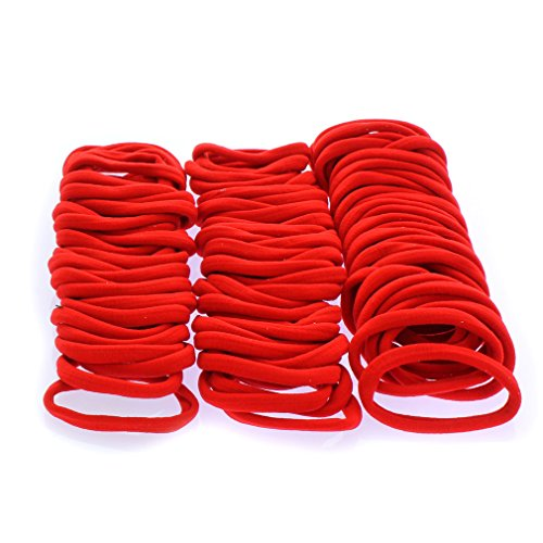 Ponytail Hair Bands -Seamless - Red 100pcs ()