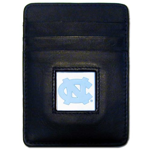 NCAA North Carolina Tar Heels Leather Money Clip/Cardholder Wallet