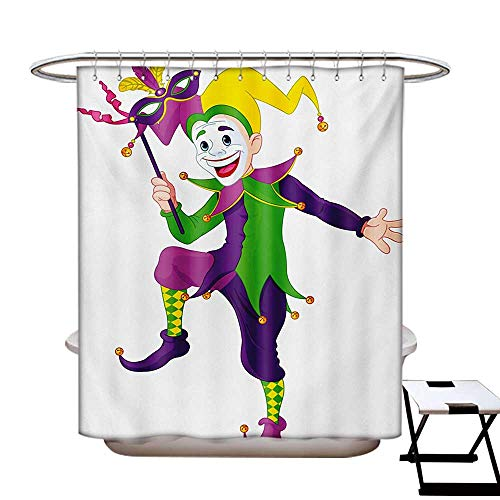 Mardi Gras Shower Curtains Waterproof Cartoon Style Jester in Iconic Costume with Mask Happy Dancing Party Figure Fabric Bathroom Decor Set with Hooks W69 x L75 Multicolor for $<!--$36.50-->