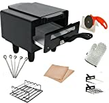 Berg Cast Iron Electric Tandoor with Pizza Cutter, Magic Cloth, Grill, Skewers, Aluminium Tray and Recipe Book (Black, BERG-B-1)