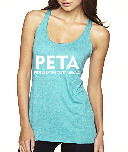 New Way 608 - Women's Tank-Top PETA People Eating Tasty Animals Parody Large Tahiti Blue (Tasty Animals T-shirt)