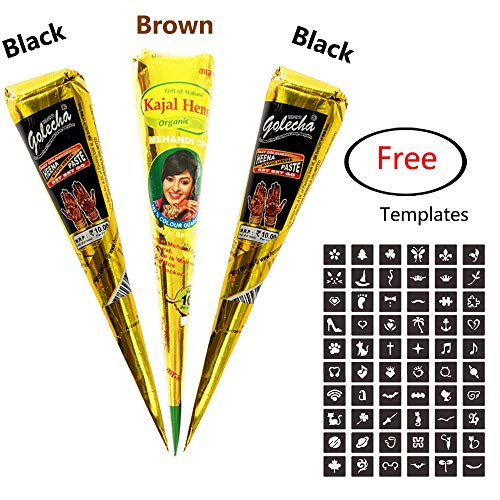 3Pcs Temporary India Paste Cone Tattoo Set Temporary Tattoo Body Art and Painting Bundle Natural Organic Fresh Authentic Ink Paste with Free Stencil Designs from MANGOIT