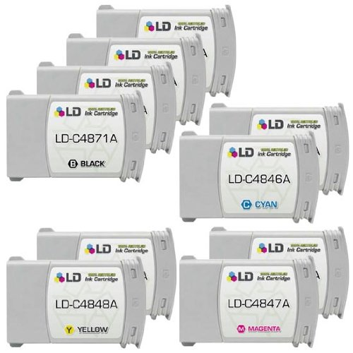 LD © Remanufactured Replacement Ink Cartridges for Hewlett Packard (HP 80): 2 Black C4871A, 1 each of Cyan C4846A, Magenta C4847A, Yellow C4848A by Products