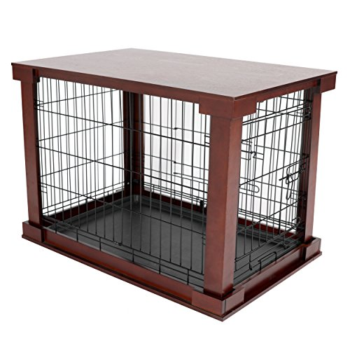 Merry Products Pet Cage with Crate Cover, Large (Wooden Crate Finished)