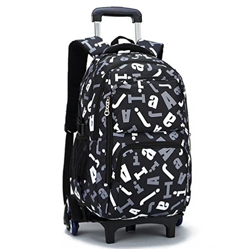 hool Bag Backpack for Girl and Boy Students Rolling Trolley Bags Climbing Stairs Six Wheels Letter Pattern (6 Wheel Pattern)