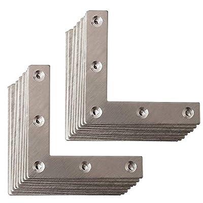BTMB 20 Pcs Stainless Steel Flat L Shape Plate Corner Brace Furniture Repair Mending Joining Bracket(80mmx80mm/3.14''x3.14'')