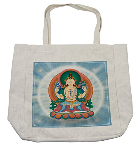 Lunarable Eastern Shopping Bag, Religious Meditating Statue with Sunbeams Dharma Monk Bohemian Spiritual Design Art, Eco-Friendly Reusable Bag for Groceries Beach Travel School & More, Cream
