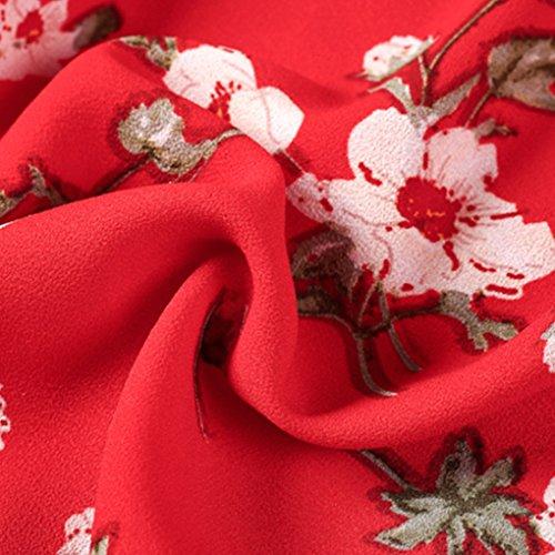 QHGstore Vestido atractivo de la playa del verano de la impresión de la colmena del hombro de los vestidos altos de Boho de la gasa de la correa de la cintura del vestido un color