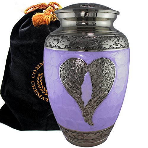 Ash Entertainment Center - Lilac Loving Angel Wings - Funeral, Burial, Niche or Columbarium Cremation Urn for Human Ashes - 100% Brass - Adult/Large