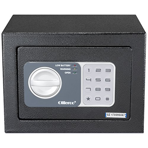 Ollieroo Safe 0.2 CF Electronic Keypad Lock Home Security Small Safe Box With Keys for Office Hotel Gun Jewelry Black (Gun Safe Security)