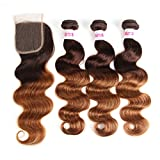 2 Tone Ombre Hair 3 Bundles With Closure Brazilian Virgin Hair Body Weft Human Hair Extensions T4/30 Medium Brown/Medium Auburn(20 22 24with18)