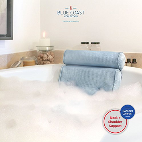Bonnieu Luxus-Wannenkissen aus der Blue Coast Collection für die Badewanne und den Spa! Starke Saugnäpfe und optimaler Halt für Nacken und Schultern. Ideal für alle Badewannen, Whirlpools und Hottubs! Weiche Textilfasern, dicke Polsterung, rutschfest, leicht zu reinigen und geruchshemmend mit Mesh-Technologie für schnelle Trocknung. Lassen Sie sich noch heute verwöhnen!